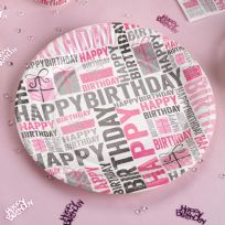 Happy Birthday Pink & Grey Paper Plates (8)